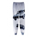 Hot Fashion Cool Car 3D Printed Drawstring Waist Grey Casual Cotton Sweatpants
