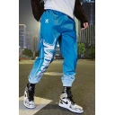 Unisex New Fashion Ombre Color Letter Printed Loose Fit Elastic Cuffs Blue Hip Pop Track Pants