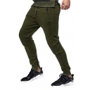 Men's Popular Fashion Simple Plain Knee Pleated Patched Drawstring Waist Zip-Cuffs Sports Sweatpants Pencil Pants