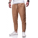 Men's Simple Fashion Solid Color Drawstring Waist Elastic Cuffs Casual Cargo Pants Pencil Pants