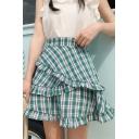 Trendy High Waist Check Printed Layer Ruffle Hem Fitted Sweet Mini A-Line Skirt