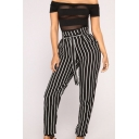 New Arrival Vertical Striped Tie Waist Jumpsuits for Lady