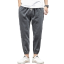 Hot Fashion Stripe Pattern Drawstring Waist Elastic Cuffs Men's Casual Tapered Pants