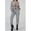 Long Sleeve Button Front Cropped Coat with Drawstring Waist Pants Plain Sexy Co-ords