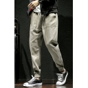 Simple Fashion Solid Color Drawstring Waist Elastic Cuffs Men's Casual Cotton Tapered Cargo Pants