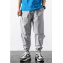 Men's Street Trendy Letter Printed Loose Fit Multi-pocket Hip Pop Track Pants