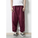 Men's Popular Fashion Simple Plain Drawstring Waist Elastic Cuffs Loose Fit Casual Track Pants