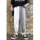 Unisex New Fashion Colorblock Patched Loose Fit Trendy Drawstring Track Pants