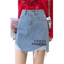 Womens Summer Simple Letter Logo CUCCI Printed Ripped Frayed Hem Light Blue Mini Denim Skirt