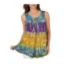 Stylish Womens Sleeveless Round Neck Floral Printed Colorblock Tank Tee