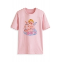 New Arrival Short Sleeve Round Neck Angel Baby Floral Dove Printed Straight Chic T Shirt