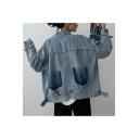 Womens Vintage Light Blue Ombre Color Casual Loose Denim Jacket Coat
