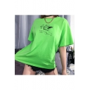 Green Round Neck Short Sleeve SUCH CUTE Letter Angel Baby Printed Loose T Shirt