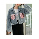 Womens Fancy Sequined Patch Pocket Long Sleeve Retro Light Blue Short Denim Jacket