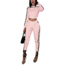 Womens Fancy Pink Contrast Stripe Side Crop Sweatshirt with Fitted Sweatpants Two-Piece Set
