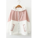 Girls New Trendy Colorblock Two-Tone Long Sleeve Lightweight Zip Up Hooded Coat
