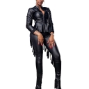 Women's Cool Black Zip Up Jacket with Skinny Fit Tassel Pants Faux Leather Two-Piece Set