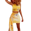 Fashion Yellow Tie Dye Round Neck Crop Tank with Knotted Mini Bodycon Skirt Two-Piece Set