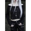Cool Street Style Long Sleeve Off Shoulder Eyelet Embellished Cropped T Shirt