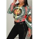 Womens Hot Popular Pattern Lapel Collar Long Sleeve Zip Up Short Jacket