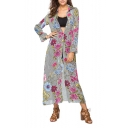 Womens New Trendy Floral Stripe Pattern Lapel Collar Long Sleeve Chiffon Longline Shirt Dress