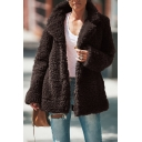 Womens Winter Hot Fashion Lapel Collar Faux Fur Open Front Fluffy Teddy Coat