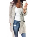 Womens New Trendy Simple Plain Open Front Longline Knitwear Cardigan with Pocket