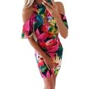 Summer Trendy Red Floral Leaf Printed Cold Shoulder Ruffled Hem Mini Bodycon Dress