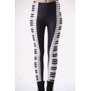 Cool Unique Black and White Piano Printed Milk Silk Fitness Athletic Yoga Leggings