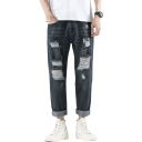 Guys New Fashion Solid Color Cool Frayed Detail Regular Fit Ripped Jeans in Black