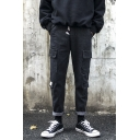 Chic Fashion Simple Plain Black Drawstring Waist Multi-pocket Cargo Pants Casual Jeans for Men