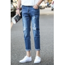 Men's Popular Fashion Blue Washed Distressed Ripped Jeans