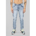 Men's Popular Fashion Pleated Patched Side Light Blue Washed Stretched Slim Fit Jeans