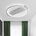 Metallic Linear Ceiling Fixture with Single Ring Monochromatic Surface Mount LED Light in Neutral