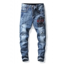 Men's Popular Fashion Graphic Embroidered Blue Distressed Ripped Washing Jeans