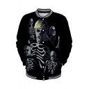 Men's Hot Popular Skull Pattern Stand Collar Long Sleeve Black Baseball Jacket
