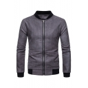 Men's New Trendy Plain Long Sleeve Stand-Collar Zip Up Knitted Slim Fit Jacket