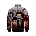 Funny Cartoon Figure Pattern Stand Collar Long Sleeve Zip Placket Baseball Jacket