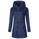 Men's Hot Popular Double-Breasted Long Sleeve Plain Casual Mid-Length Fitted Trench Coat