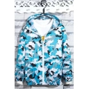 New Trendy Camouflage Printed Long Sleeve Hooded Zip Placket Unisex Sun Protection Coat