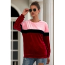 Womens New Trendy Color Block Basic Round Neck Long Sleeve Velvet Sweatshirt