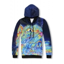 Creative Fashion Colored Cat Galaxy 3D Printed Navy Long Sleeve Drawstring Pullover Hoodie