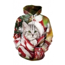 Christmas New Fashion Cartoon Cat 3D Printed Long Sleeve Drawstring Hooded Red Casual Loose Hoodie