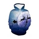 Christmas New Fashion Snowflake Elk 3D Printed Blue Long Sleeve Pullover Casual Loose Hoodie
