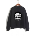 New Trendy Alien Letter Storm Area Printed Mock Neck Long Sleeve Pullover Sweatshirt