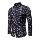 New Stylish Floral Printed Long Sleeve Dark Blue Button Up Plus Size Loose Shirt for Men