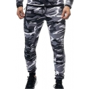 Mens New Fashion Cool Camouflage Printed Knee Pleated Patched Slim Fitted Casual Sports Pencil Pants