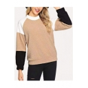 New Stylish Color Block Round Neck Long Sleeve Khaki Fluffy Sweatshirt