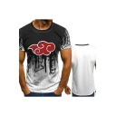 New Stylish Short Sleeve Round Neck Cloud Printed Unisex Basic T-Shirt