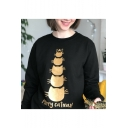 New Stylish Funny Cat Letter Merry Catmas Print Long Sleeve Pullover Loose Black Sweatshirt